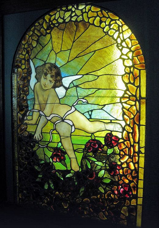 stained glass cupid