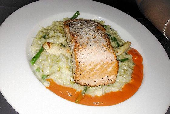 ice plant salmon risotto