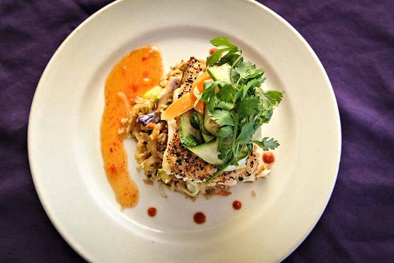 purple olive sesame crusted grouper